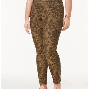 I.N.C Plus Size Camo-Print Jacquard Skinny Pants